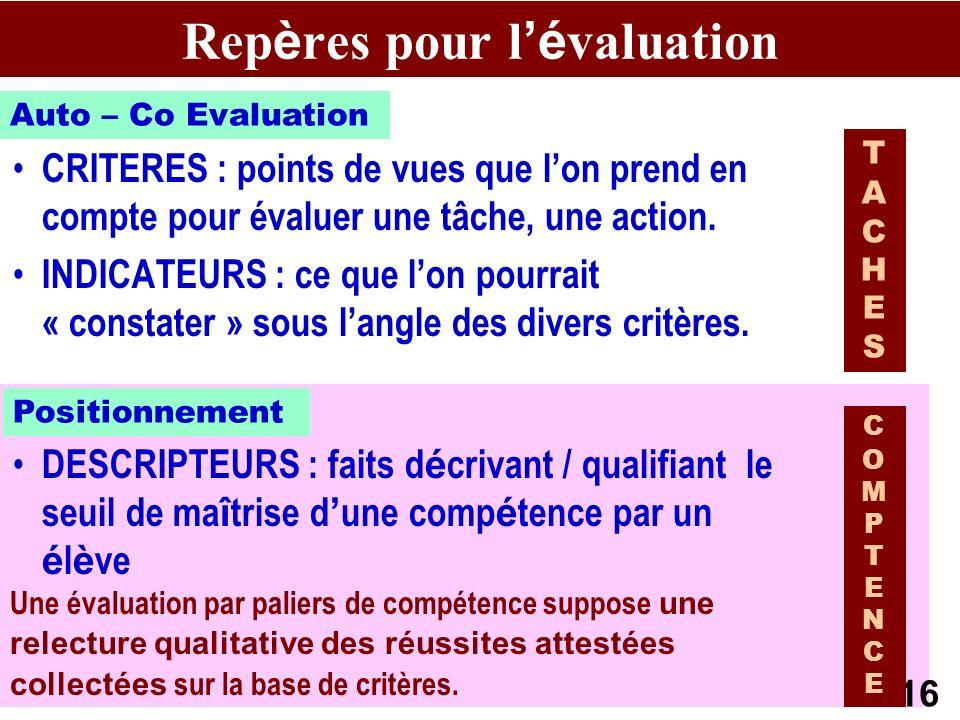 AB CEPEC13 Une évaluation par paliers de compétence suppose une relecture qualitative des réussites attestées collectées sur la base de critères.