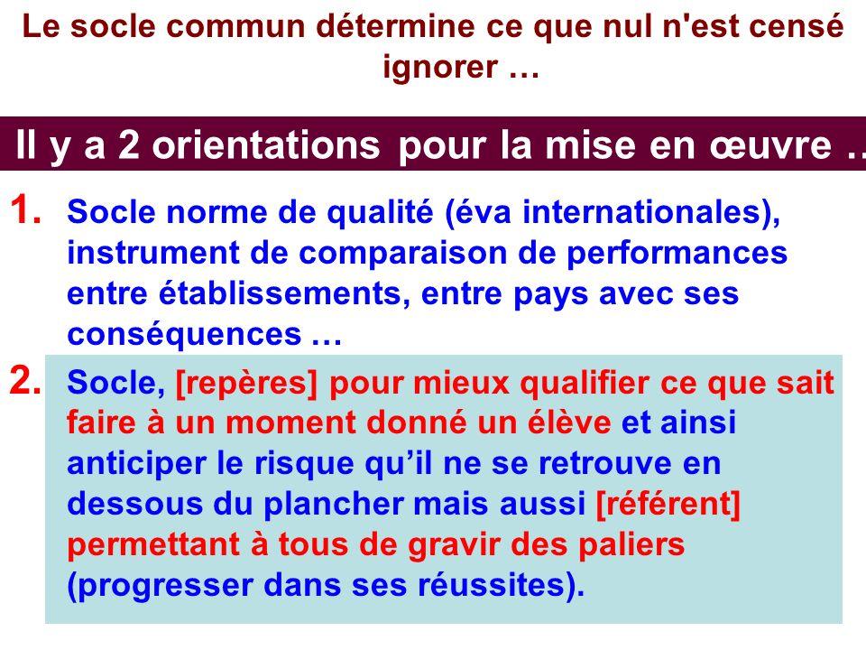 AB CEPEC3 Il y a 2 orientations pour la mise en œuvre … Le socle commun détermine ce que nul n est censé ignorer … 1.