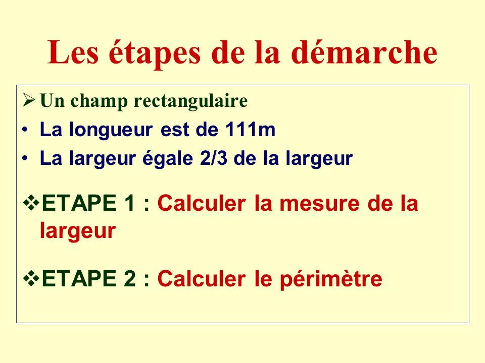 Repérer les données Un champ rectangulaire La longueur est de 111m La largeur égale 2/3 de la largeur