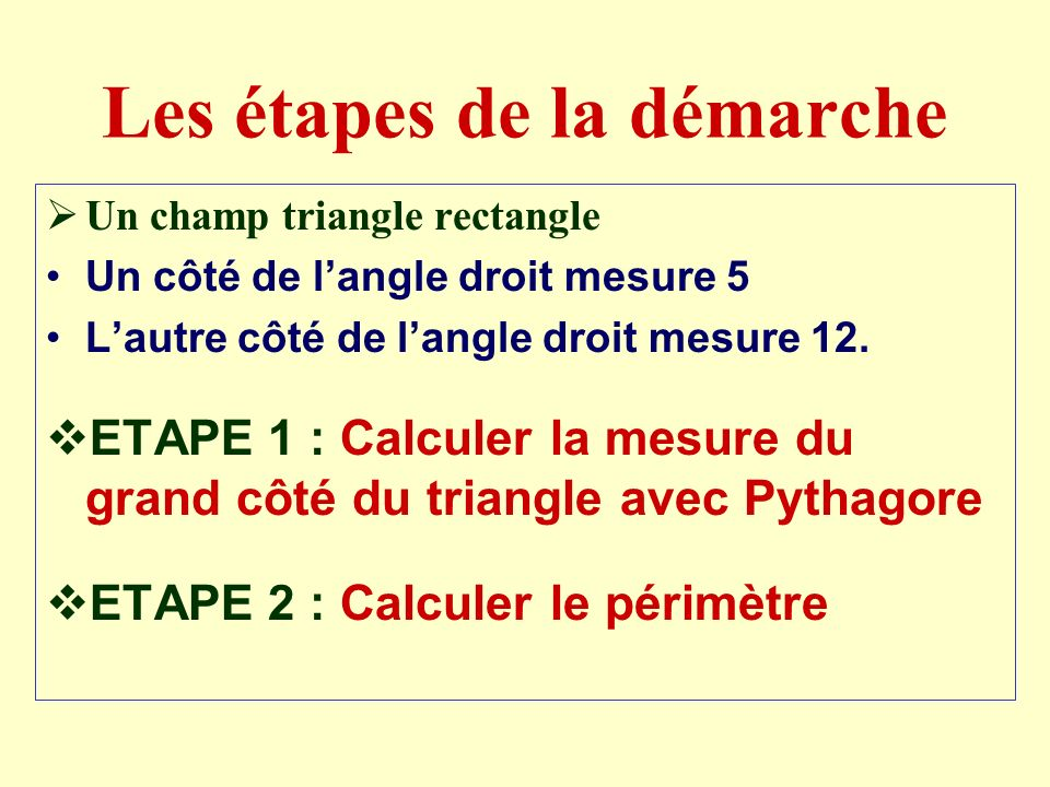 Les étapes de la démarche Un champ triangle rectangle Un côté de langle droit mesure 5 Lautre côté de langle droit mesure 12.