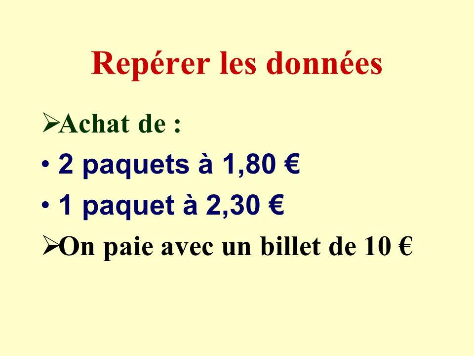Problème 1 Jachète 2 paquets de copies simples à 1,80 le paquet et 1 paquet de copies doubles à 2,30.