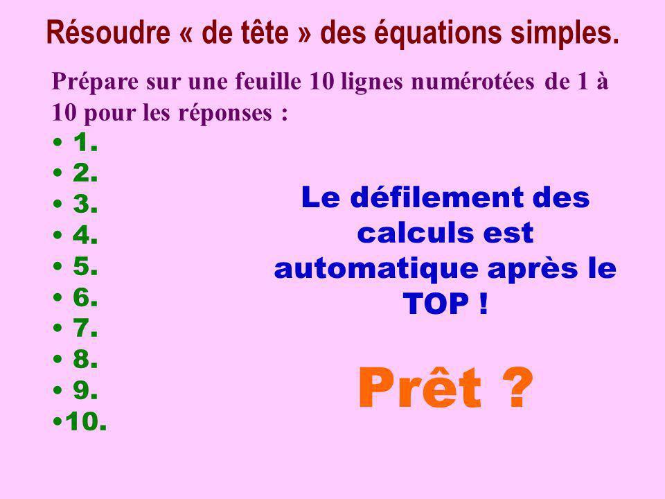 Calcul pensé Résoudre « de tête » des équations simples.