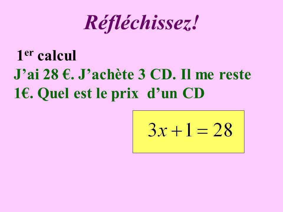 Réfléchissez! 1 er calcul Jai 28. Jachète 3 CD. Il me reste 1. Quel est le prix dun CD