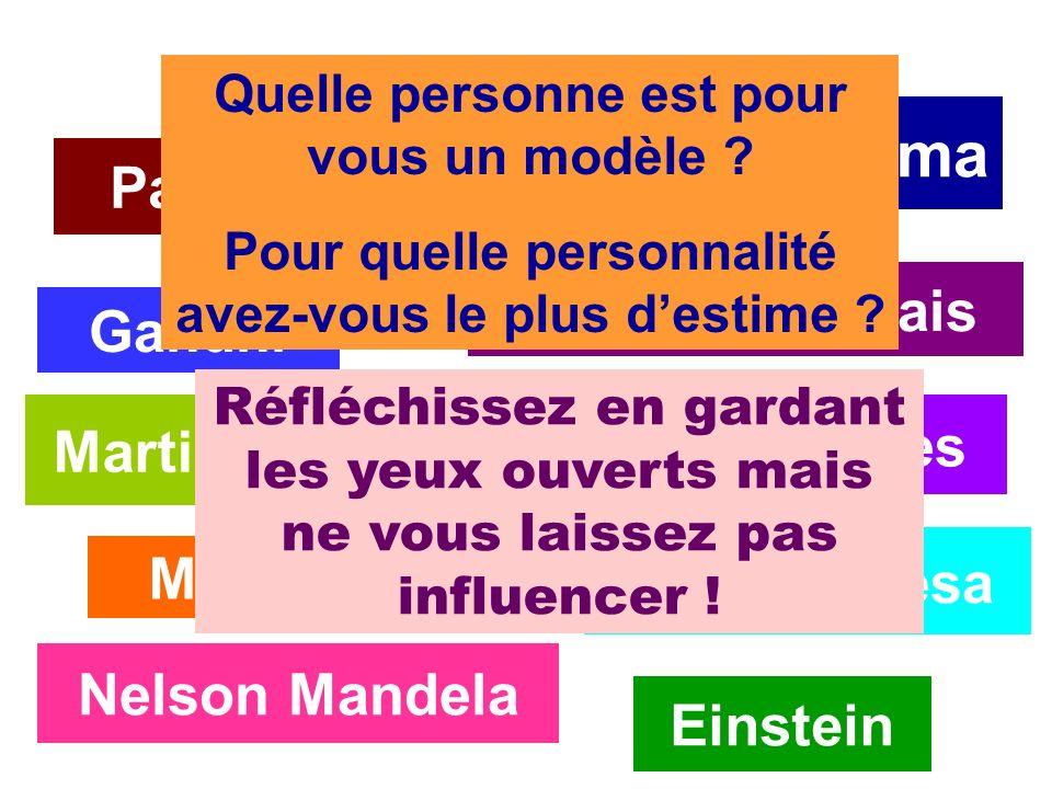 Barack Obama Einstein Nelson Mandela Mère Thérésa Martin Luther King Gandhi Bill Gates Marie Curie Pasteur La prof danglais Quelle personne est pour v