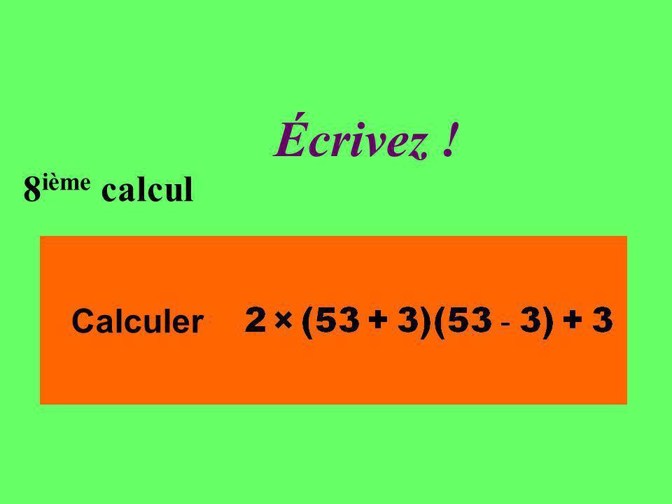 Réfléchissez 8 ième calcul Calculer