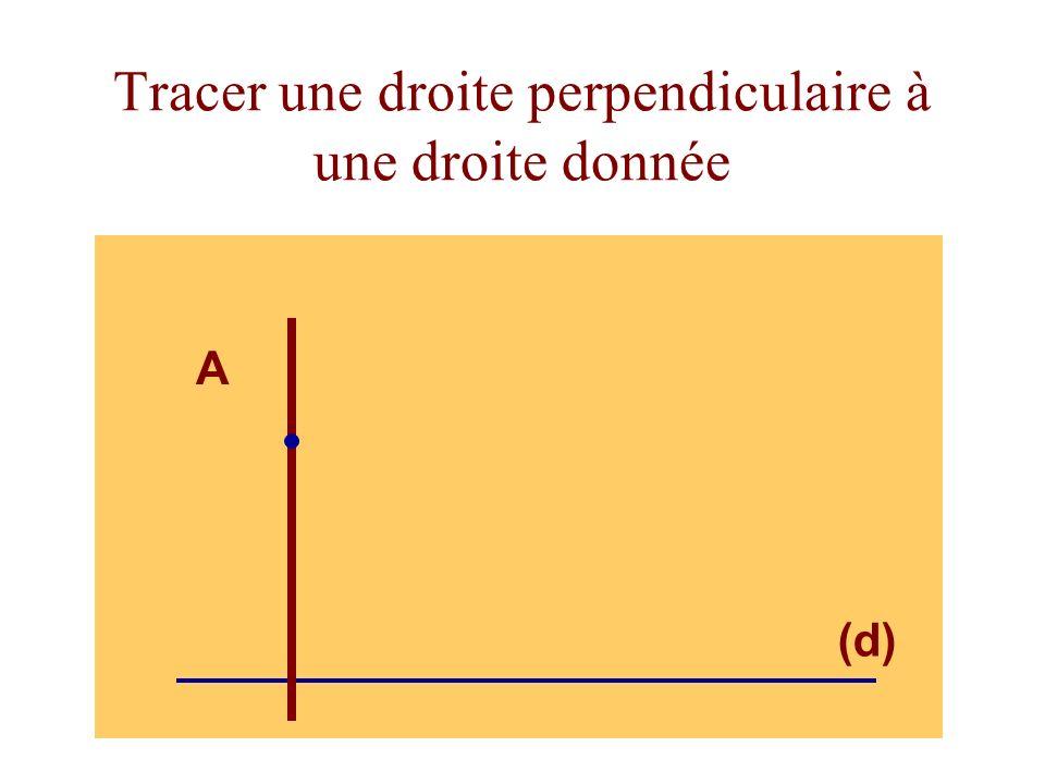 Tracer une droite perpendiculaire à une droite donnée (d) A