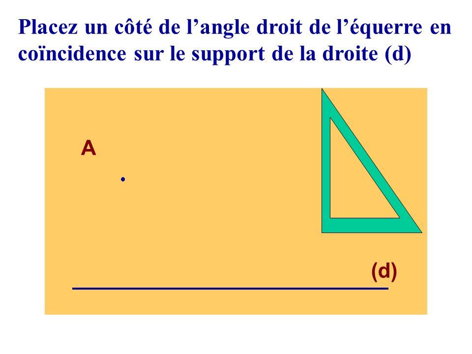 (d) A Faire glisser l équerre, en restant en coïncidence avec la droite (d) jusquà ce que lautre côté de langle droit passe par le point A,