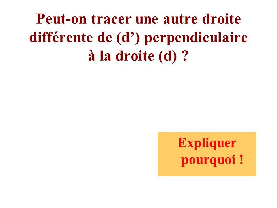 Peut-on tracer une autre droite différente de (d) perpendiculaire à la droite (d) ? Expliquer pourquoi !