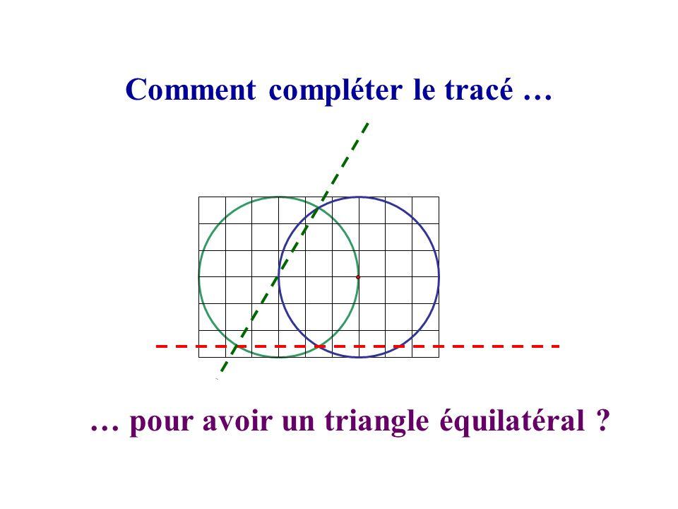 Comment compléter le tracé … … pour avoir un triangle équilatéral ?