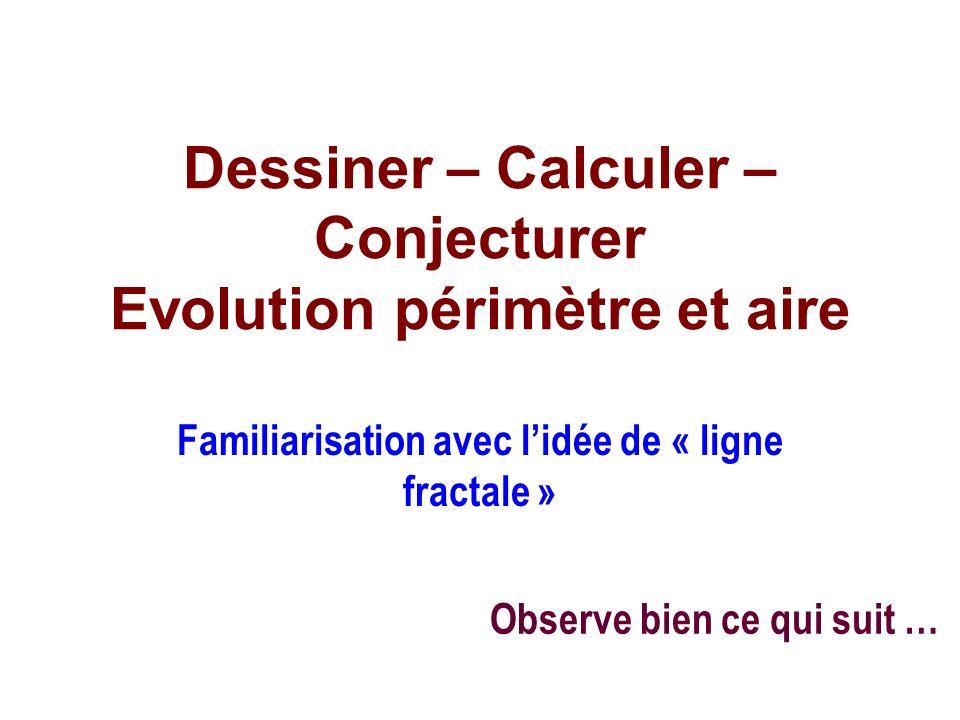 Dessiner – Calculer – Conjecturer Evolution périmètre et aire Familiarisation avec lidée de « ligne fractale » Observe bien ce qui suit …