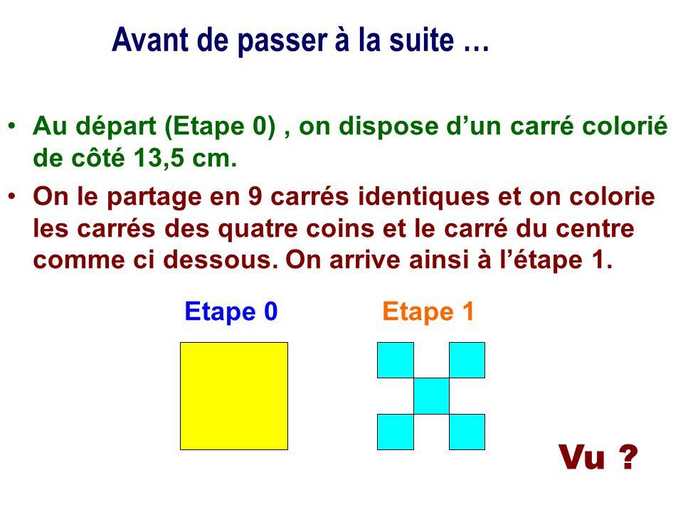 Au départ (Etape 0), on dispose dun carré colorié de côté 13,5 cm. On le partage en 9 carrés identiques et on colorie les carrés des quatre coins et l
