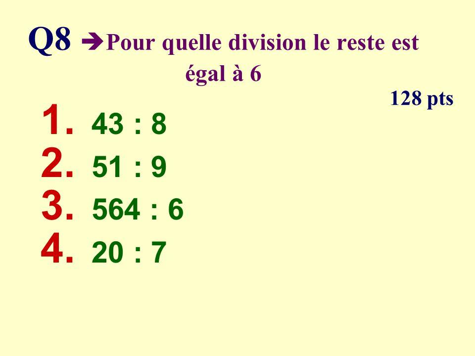 Q7 Parmi les triangles lequel nest pas isocèle ? 64 pts 45° 36° 70° 50° 72°