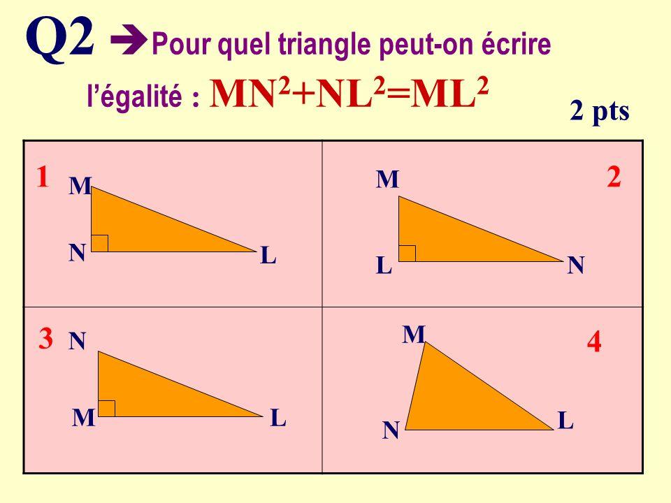 Q2 Pour quel triangle peut-on écrire légalité : MN 2 +NL 2 =ML 2 2 pts M N L N N M L L M 1 4 3 2 LN M