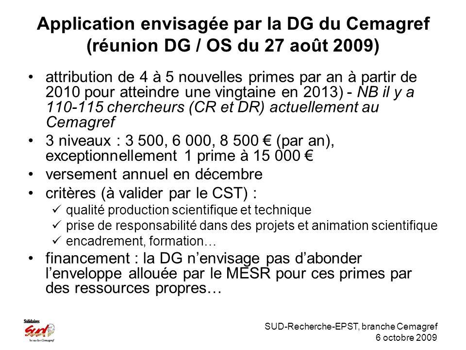 SUD-Recherche-EPST, branche Cemagref 6 octobre 2009 Application envisagée par la DG du Cemagref (réunion DG / OS du 27 août 2009) attribution de 4 à 5 nouvelles primes par an à partir de 2010 pour atteindre une vingtaine en 2013) - NB il y a 110-115 chercheurs (CR et DR) actuellement au Cemagref 3 niveaux : 3 500, 6 000, 8 500 (par an), exceptionnellement 1 prime à 15 000 versement annuel en décembre critères (à valider par le CST) : qualité production scientifique et technique prise de responsabilité dans des projets et animation scientifique encadrement, formation… financement : la DG nenvisage pas dabonder lenveloppe allouée par le MESR pour ces primes par des ressources propres…