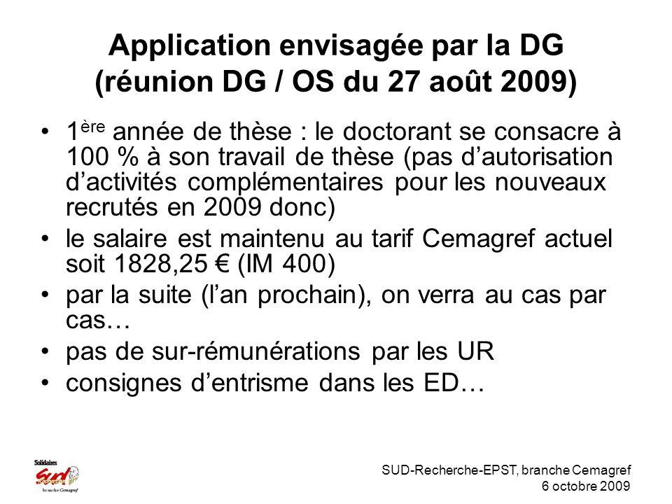 SUD-Recherche-EPST, branche Cemagref 6 octobre 2009 Application envisagée par la DG (réunion DG / OS du 27 août 2009) 1 ère année de thèse : le doctorant se consacre à 100 % à son travail de thèse (pas dautorisation dactivités complémentaires pour les nouveaux recrutés en 2009 donc) le salaire est maintenu au tarif Cemagref actuel soit 1828,25 (IM 400) par la suite (lan prochain), on verra au cas par cas… pas de sur-rémunérations par les UR consignes dentrisme dans les ED…