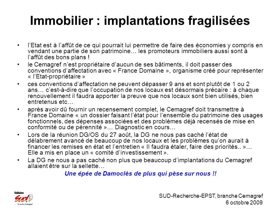 SUD-Recherche-EPST, branche Cemagref 6 octobre 2009 Immobilier : implantations fragilisées lEtat est à laffût de ce qui pourrait lui permettre de faire des économies y compris en vendant une partie de son patrimoine… les promoteurs immobiliers aussi sont à laffût des bons plans .