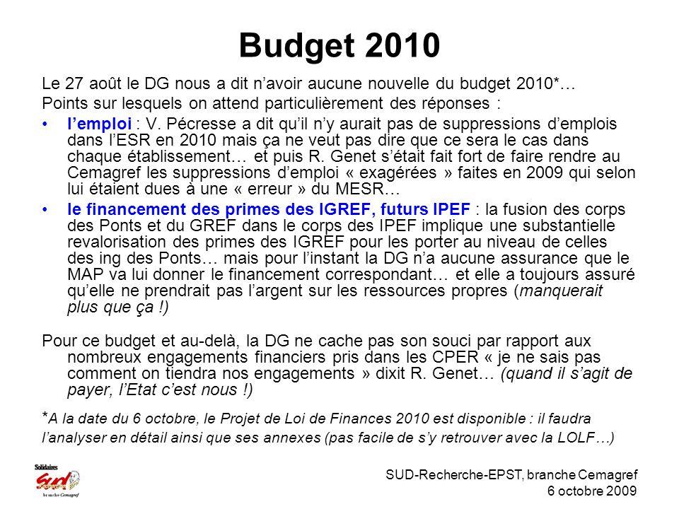 SUD-Recherche-EPST, branche Cemagref 6 octobre 2009 Budget 2010 Le 27 août le DG nous a dit navoir aucune nouvelle du budget 2010*… Points sur lesquels on attend particulièrement des réponses : lemploi : V.