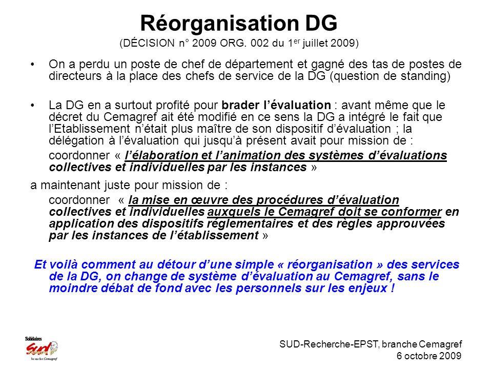 SUD-Recherche-EPST, branche Cemagref 6 octobre 2009 Réorganisation DG (DÉCISION n° 2009 ORG.