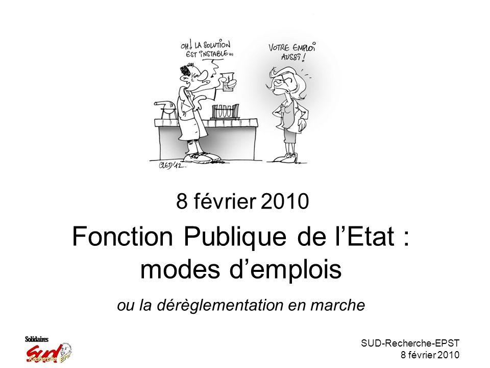 SUD-Recherche-EPST 8 février 2010 Fonction Publique de lEtat : modes demplois 8 février 2010 ou la dérèglementation en marche