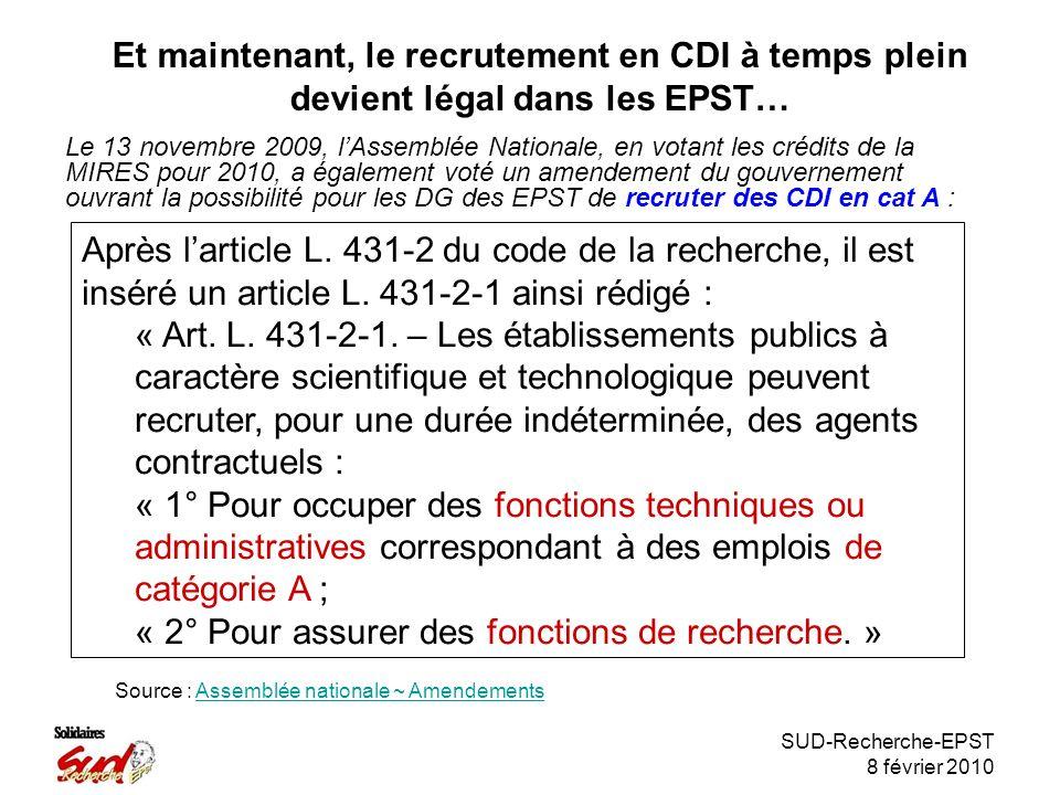 SUD-Recherche-EPST 8 février 2010 Et maintenant, le recrutement en CDI à temps plein devient légal dans les EPST… Le 13 novembre 2009, lAssemblée Nationale, en votant les crédits de la MIRES pour 2010, a également voté un amendement du gouvernement ouvrant la possibilité pour les DG des EPST de recruter des CDI en cat A : Après larticle L.