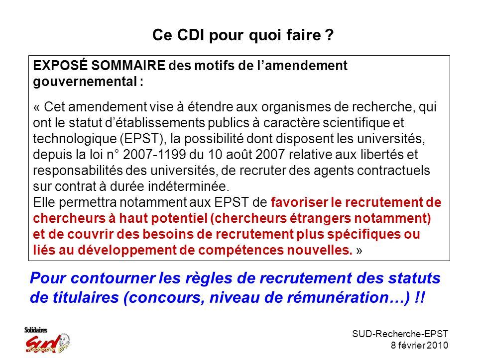 SUD-Recherche-EPST 8 février 2010 Ce CDI pour quoi faire .