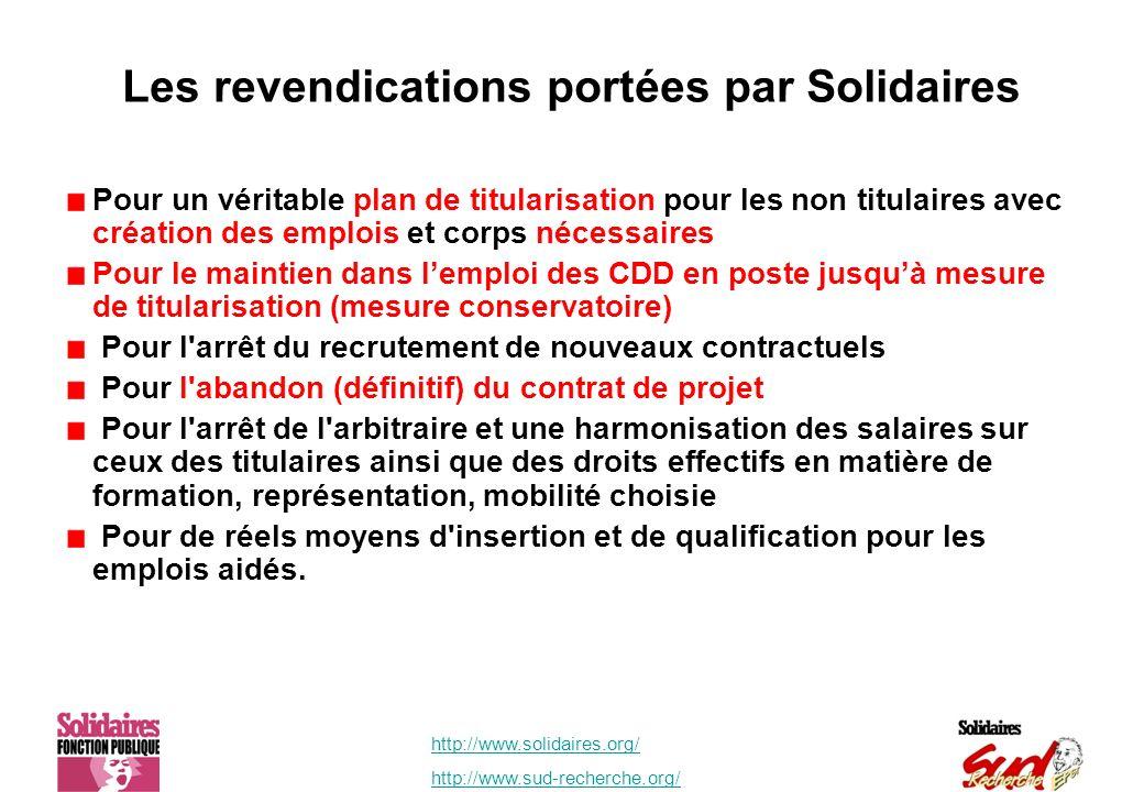 http://www.solidaires.org/ http://www.sud-recherche.org/ Les revendications portées par Solidaires Pour un véritable plan de titularisation pour les n