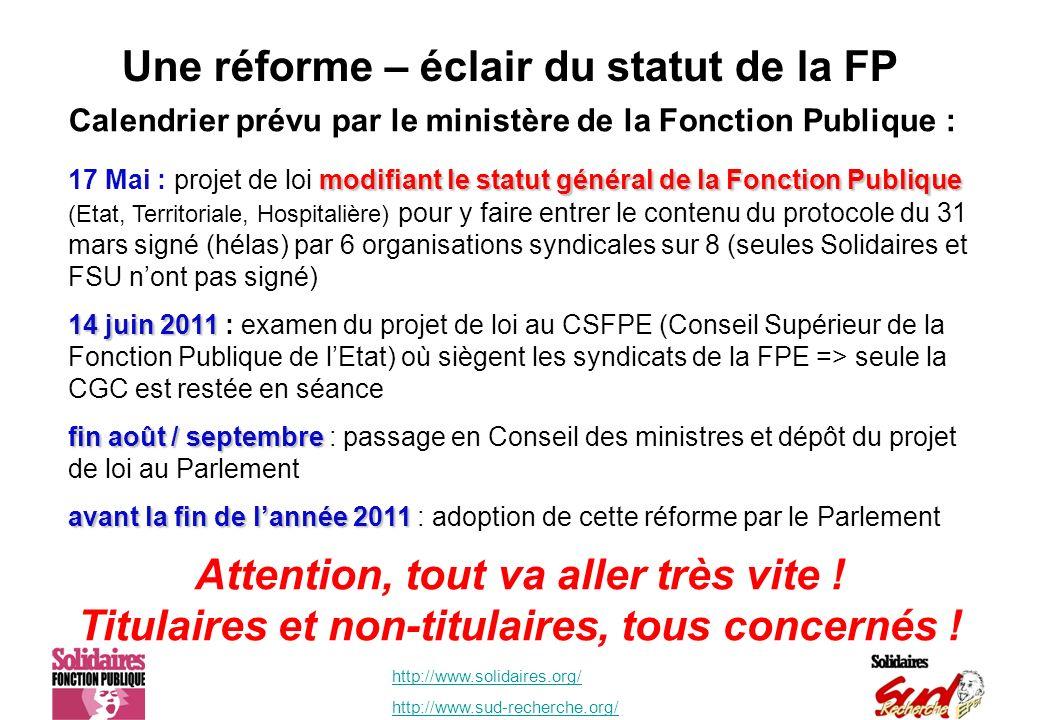 http://www.solidaires.org/ http://www.sud-recherche.org/ Une réforme – éclair du statut de la FP Calendrier prévu par le ministère de la Fonction Publ