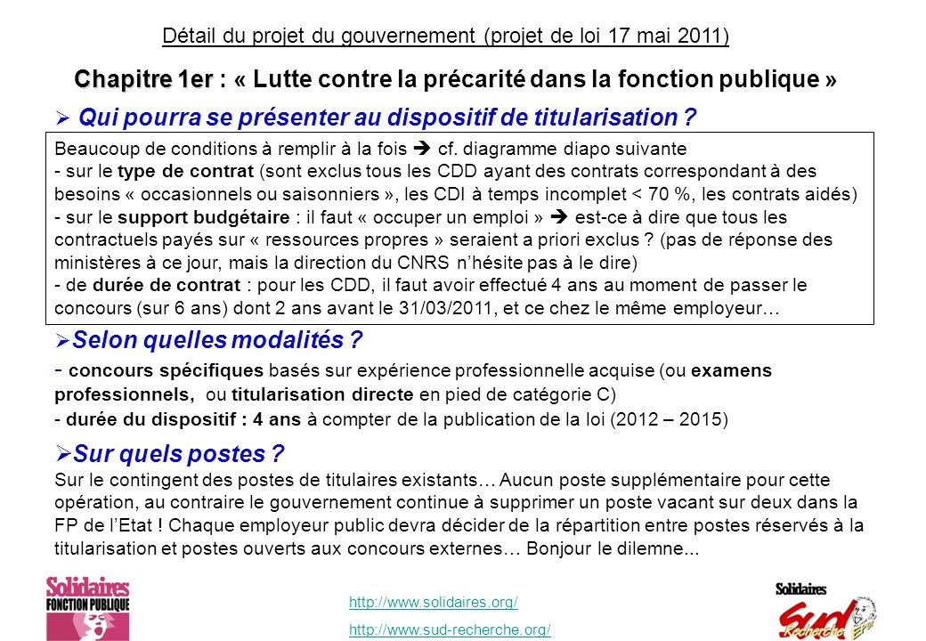 http://www.solidaires.org/ http://www.sud-recherche.org/ Chapitre 1er Chapitre 1er : « Lutte contre la précarité dans la fonction publique » Beaucoup de conditions à remplir à la fois cf.