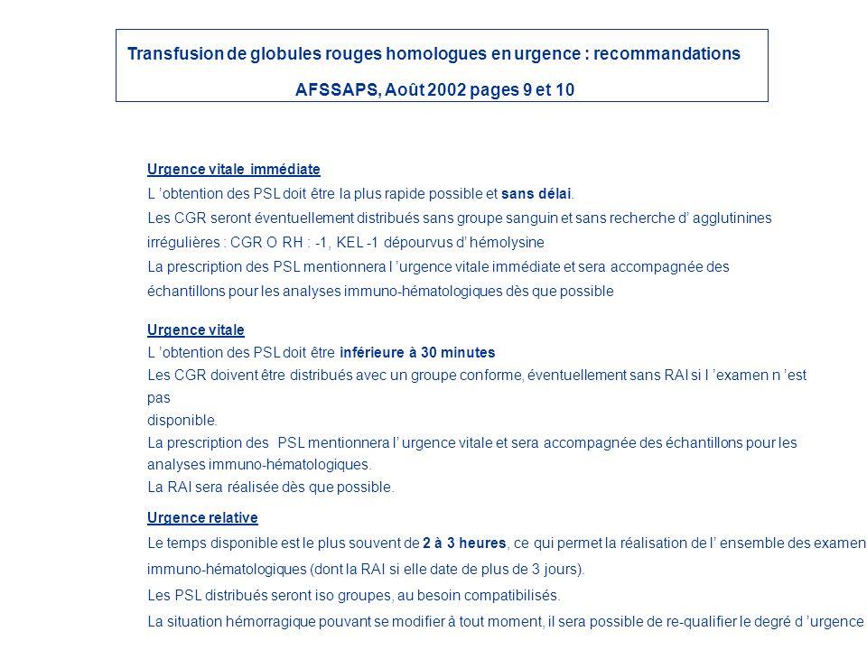 Transfusion de globules rouges homologues en urgence : recommandations AFSSAPS, Août 2002 pages 9 et 10 Urgence vitale immédiate L obtention des PSL d