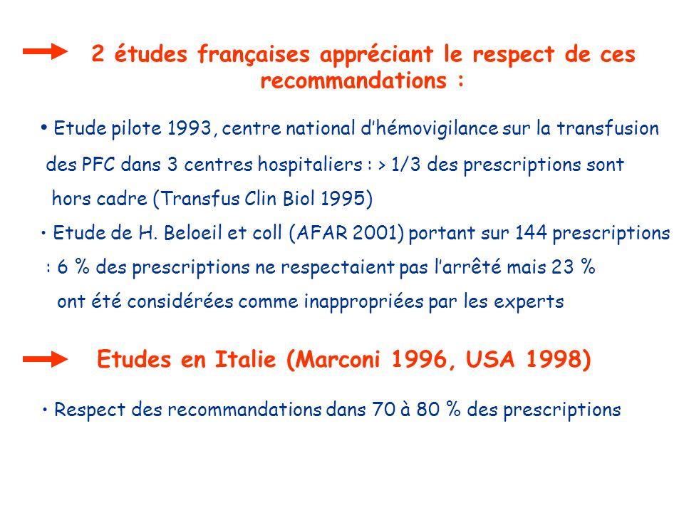 2 études françaises appréciant le respect de ces recommandations : Etude pilote 1993, centre national dhémovigilance sur la transfusion des PFC dans 3