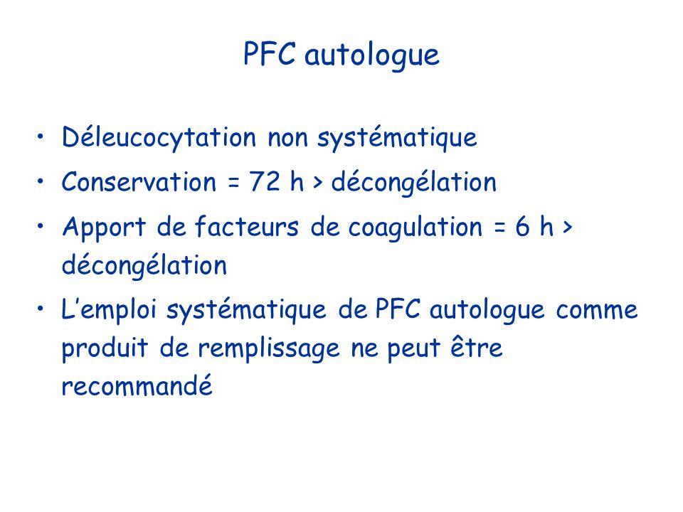 PFC autologue Déleucocytation non systématique Conservation = 72 h > décongélation Apport de facteurs de coagulation = 6 h > décongélation Lemploi sys