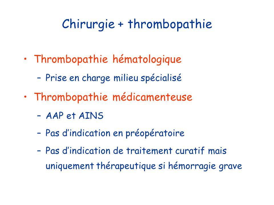 Chirurgie + thrombopathie Thrombopathie hématologique –Prise en charge milieu spécialisé Thrombopathie médicamenteuse –AAP et AINS –Pas dindication en