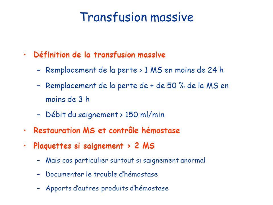 Transfusion massive Définition de la transfusion massive –Remplacement de la perte > 1 MS en moins de 24 h –Remplacement de la perte de + de 50 % de l