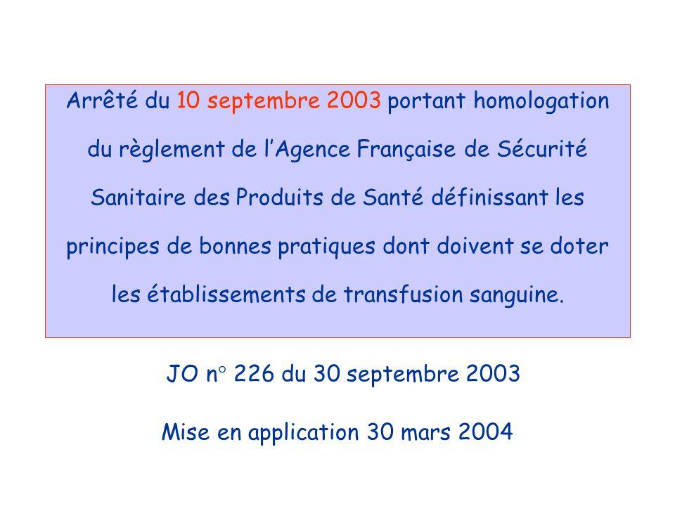 Arrêté du 10 septembre 2003 portant homologation du règlement de lAgence Française de Sécurité Sanitaire des Produits de Santé définissant les princip