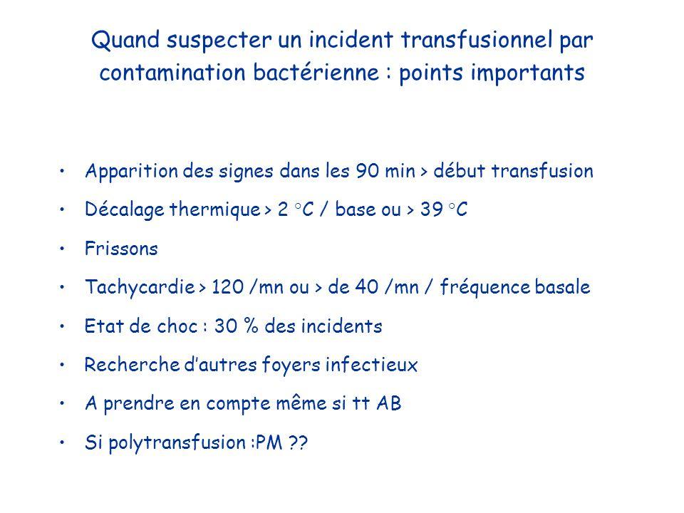 Quand suspecter un incident transfusionnel par contamination bactérienne : points importants Apparition des signes dans les 90 min > début transfusion