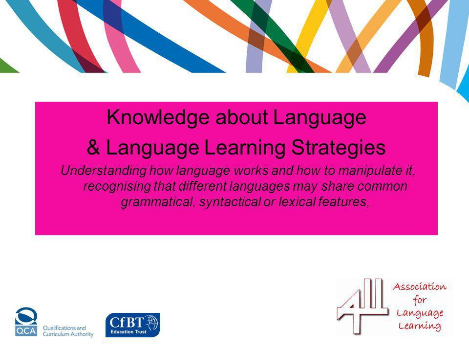 Knowledge about Language & Language Learning Strategies Understanding how language works and how to manipulate it, recognising that different language