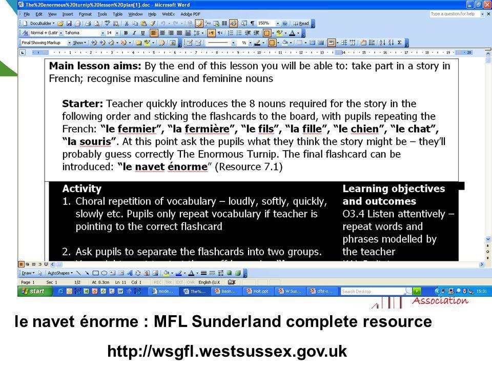 le navet énorme : MFL Sunderland complete resource http://wsgfl.westsussex.gov.uk