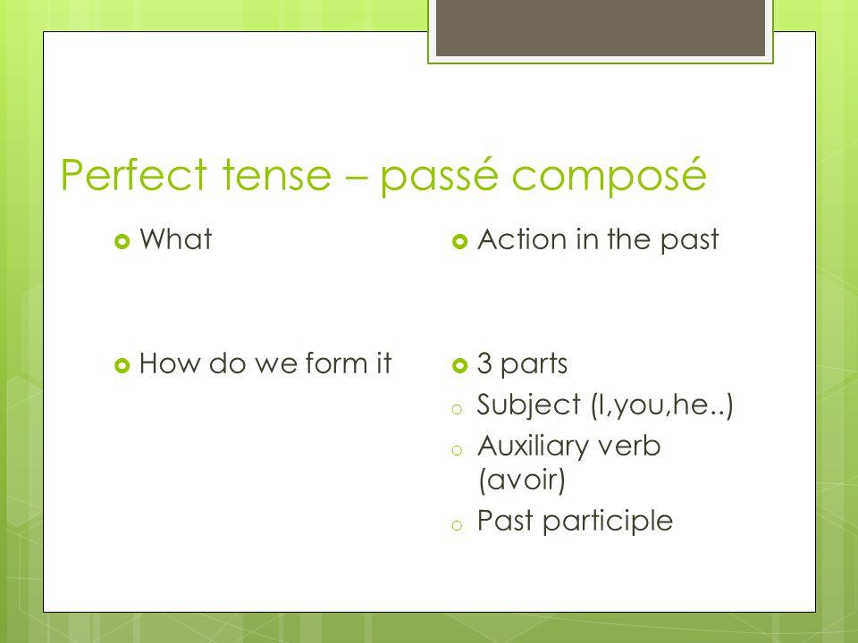 Perfect tense – passé composé How to form participle o Verbes en –ER: manger ------mangé o Verbes en –IR : finir---------- fini o Verbes en –RE: attendre ----attendu