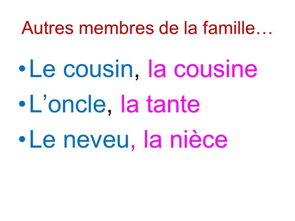 Autres membres de la famille… Le cousin, la cousine Loncle, la tante Le neveu, la nièce