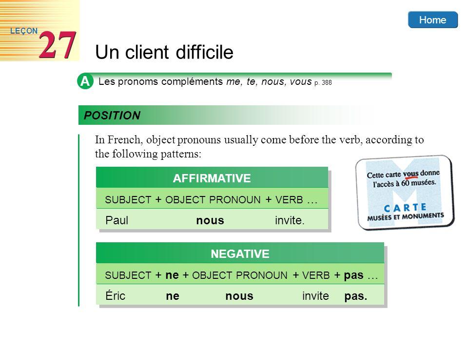 Home Un client difficile 27 LEÇON B Les pronoms compléments à limpératif p.