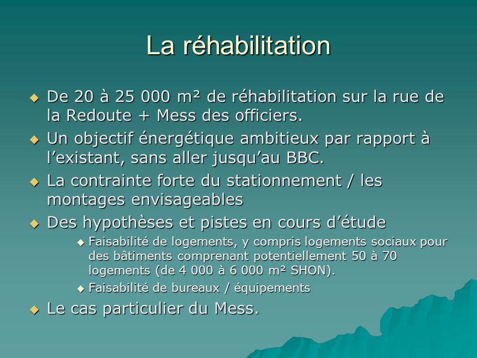 La réhabilitation De 20 à 25 000 m² de réhabilitation sur la rue de la Redoute + Mess des officiers. De 20 à 25 000 m² de réhabilitation sur la rue de