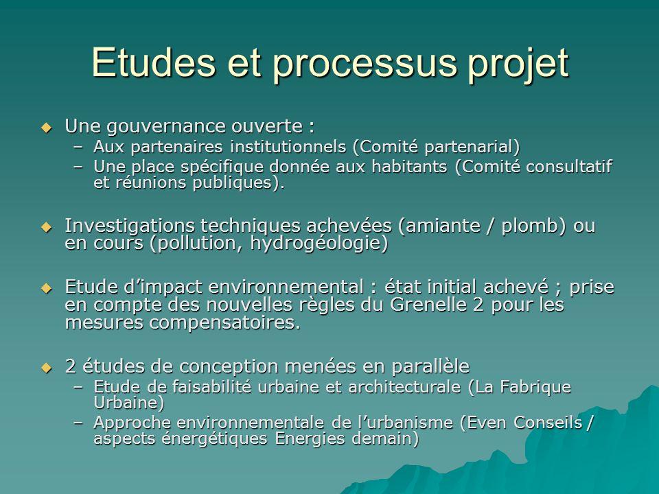 Etudes et processus projet Une gouvernance ouverte : Une gouvernance ouverte : –Aux partenaires institutionnels (Comité partenarial) –Une place spécif