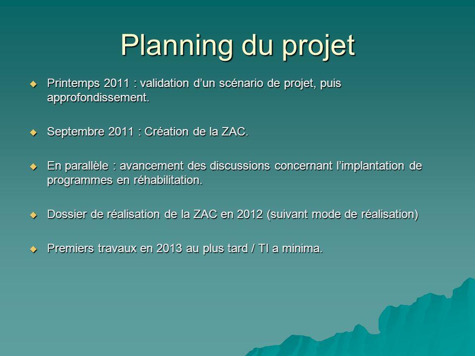 Planning du projet Printemps 2011 : validation dun scénario de projet, puis approfondissement. Printemps 2011 : validation dun scénario de projet, pui