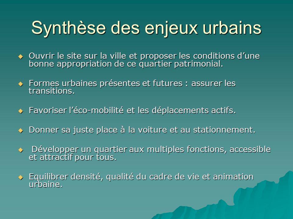 Synthèse des enjeux urbains Ouvrir le site sur la ville et proposer les conditions dune bonne appropriation de ce quartier patrimonial. Ouvrir le site