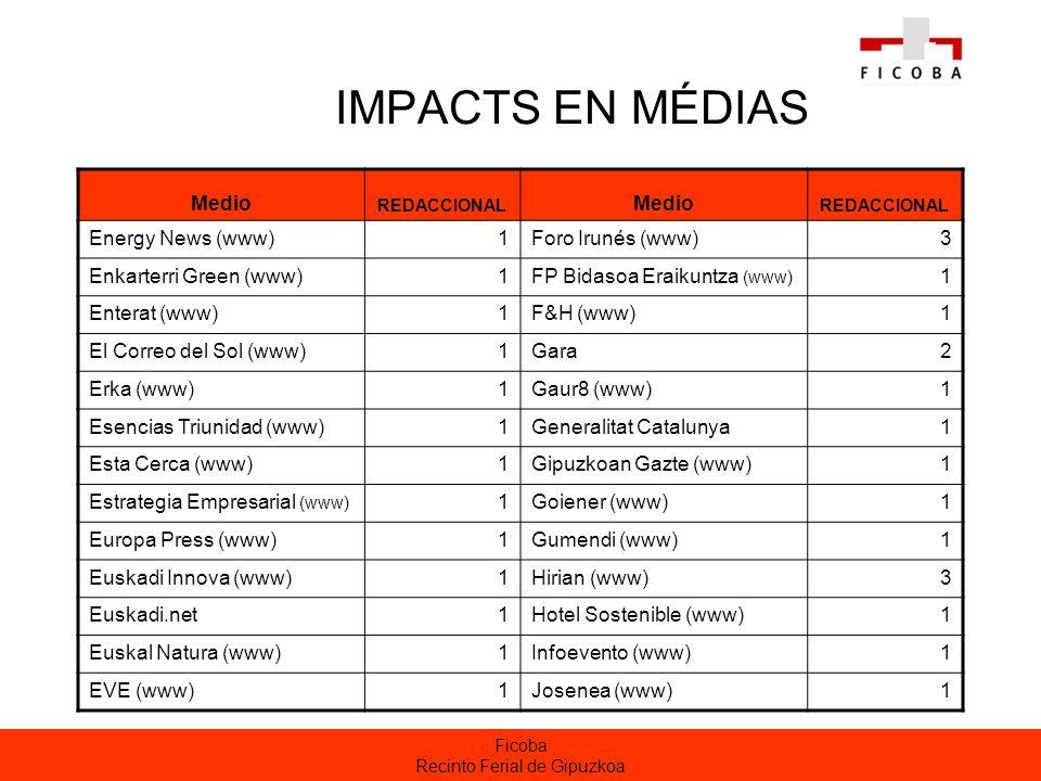 Ficoba Recinto Ferial de Gipuzkoa IMPACTS EN MÉDIAS Medio REDACCIONAL Medio REDACCIONAL Energy News (www)1Foro Irunés (www)3 Enkarterri Green (www)1FP