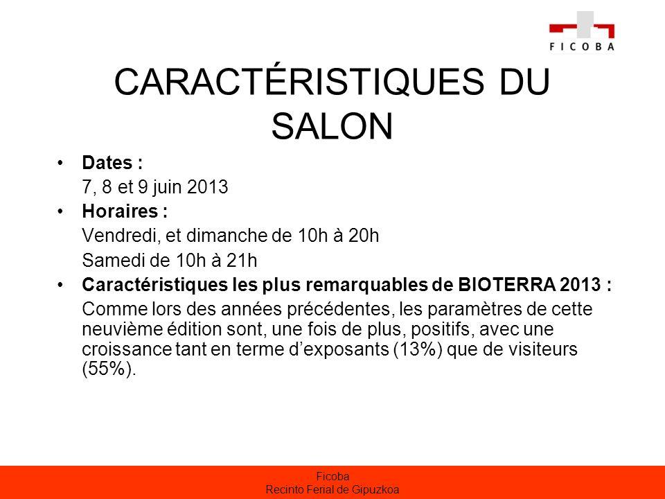 Ficoba Recinto Ferial de Gipuzkoa CARACTÉRISTIQUES DU SALON Dates : 7, 8 et 9 juin 2013 Horaires : Vendredi, et dimanche de 10h à 20h Samedi de 10h à
