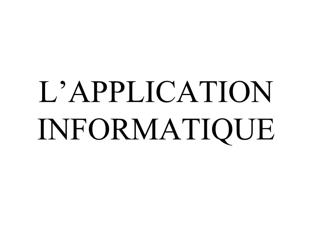 LAPPLICATION INFORMATIQUE