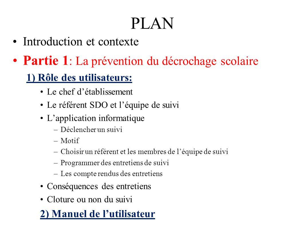 PLAN Introduction et contexte Partie 1 : La prévention du décrochage scolaire 1) Rôle des utilisateurs: Le chef détablissement Le référent SDO et léqu