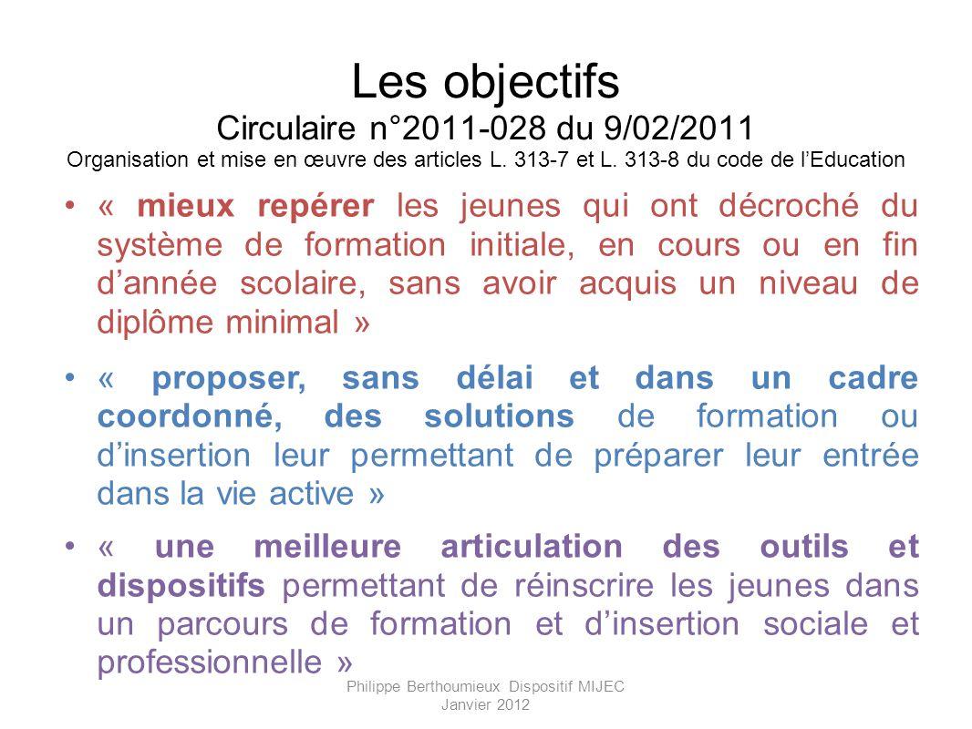Les objectifs Circulaire n°2011-028 du 9/02/2011 Organisation et mise en œuvre des articles L. 313-7 et L. 313-8 du code de lEducation « mieux repérer