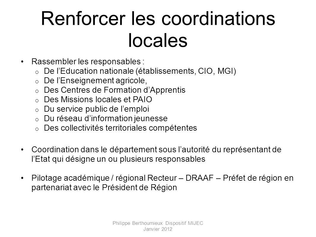 Renforcer les coordinations locales Rassembler les responsables : o De lEducation nationale (établissements, CIO, MGI) o De lEnseignement agricole, o